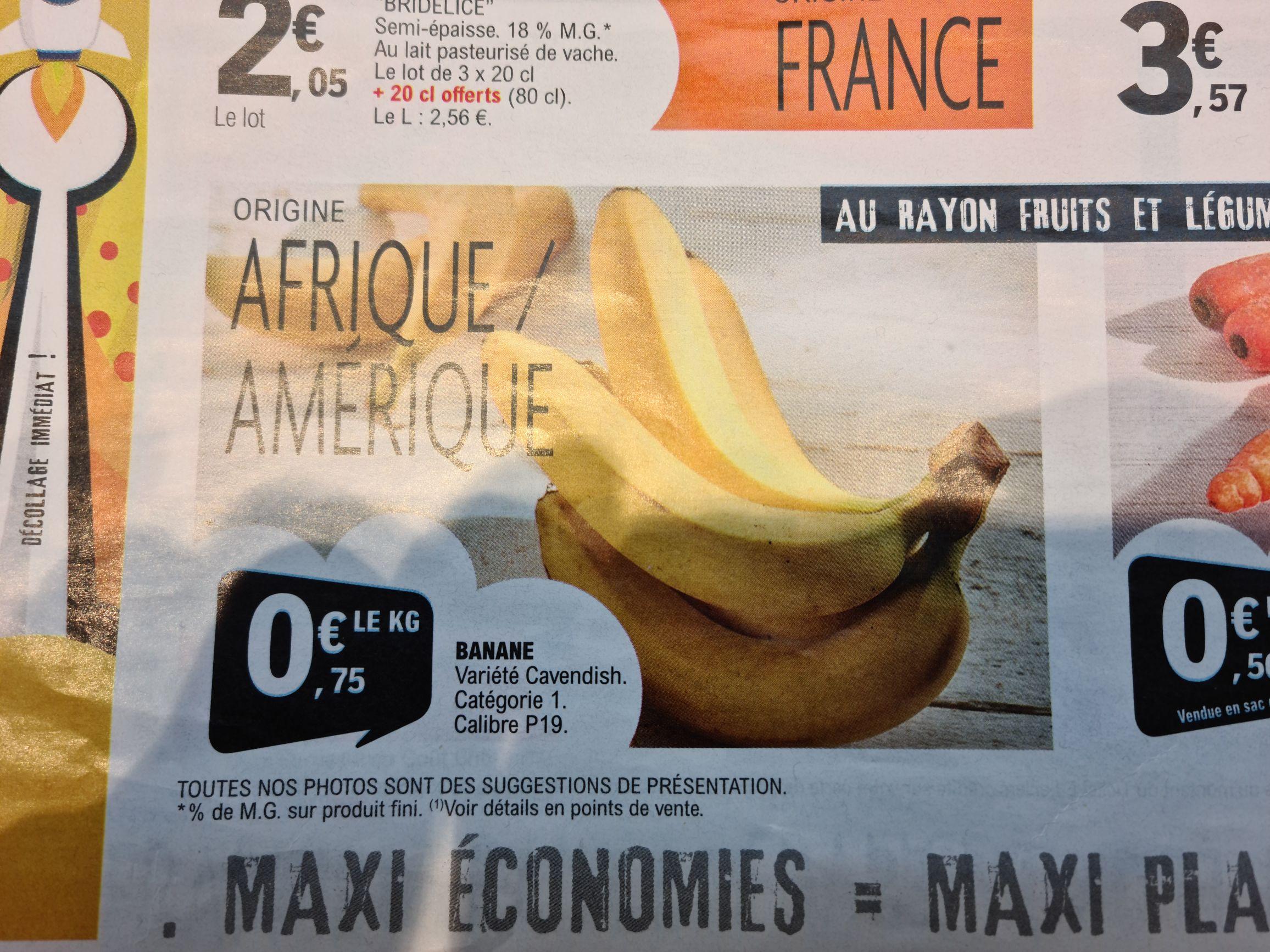 1 kg de Bananes Cavendish - Origine Amérique ou Afrique - Hirson (02)
