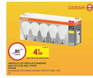 Lot de 5 ampoules Osram LED E27 - 806 Lm, Blanc chaud ou froid