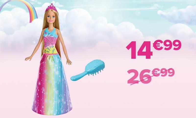 50% de remise sur une sélection de jouets Mattel dès 20€ d'achat via vignettes - Ex: Barbie princesse arc-en-ciel son et lumières