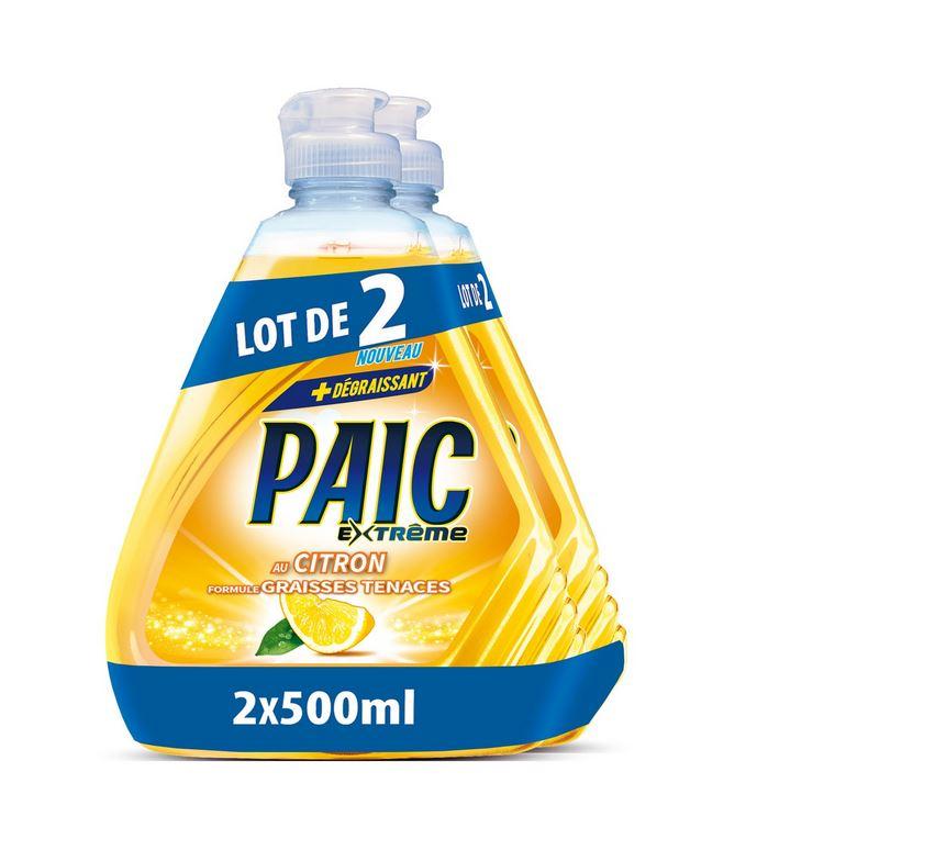 2 bouteilles de Liquide vaisselle citron Paic (Via 3.40 € sur Carte Fidélité)