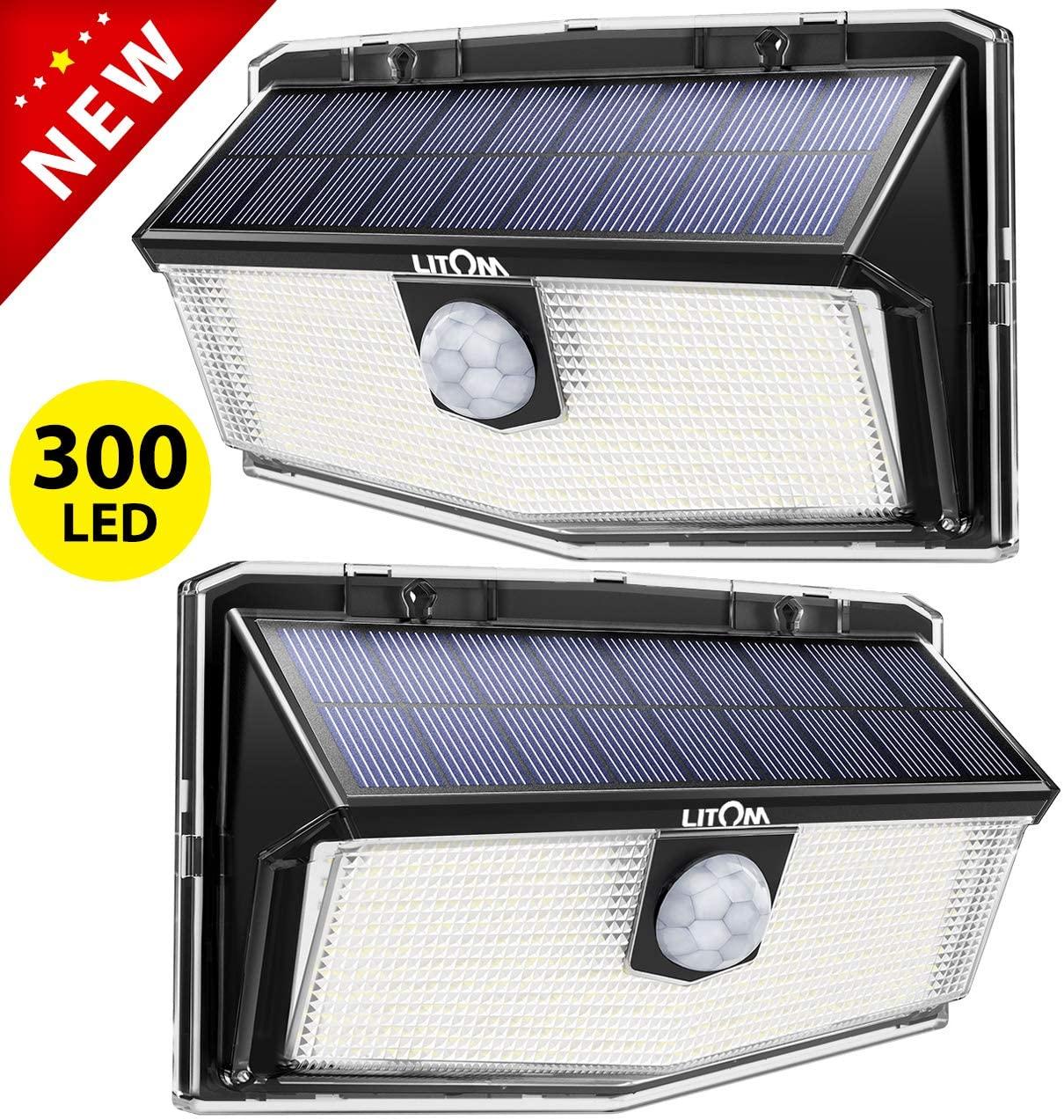 Lot de 2 Lampes solaires d'extérieur Litom (300 LED) - Détecteur de mouvement, 3 Modes, Étanche IP67 (Vendeur tiers)