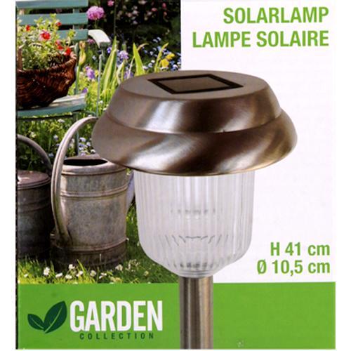 Lampe de jardin solaire torche en inox