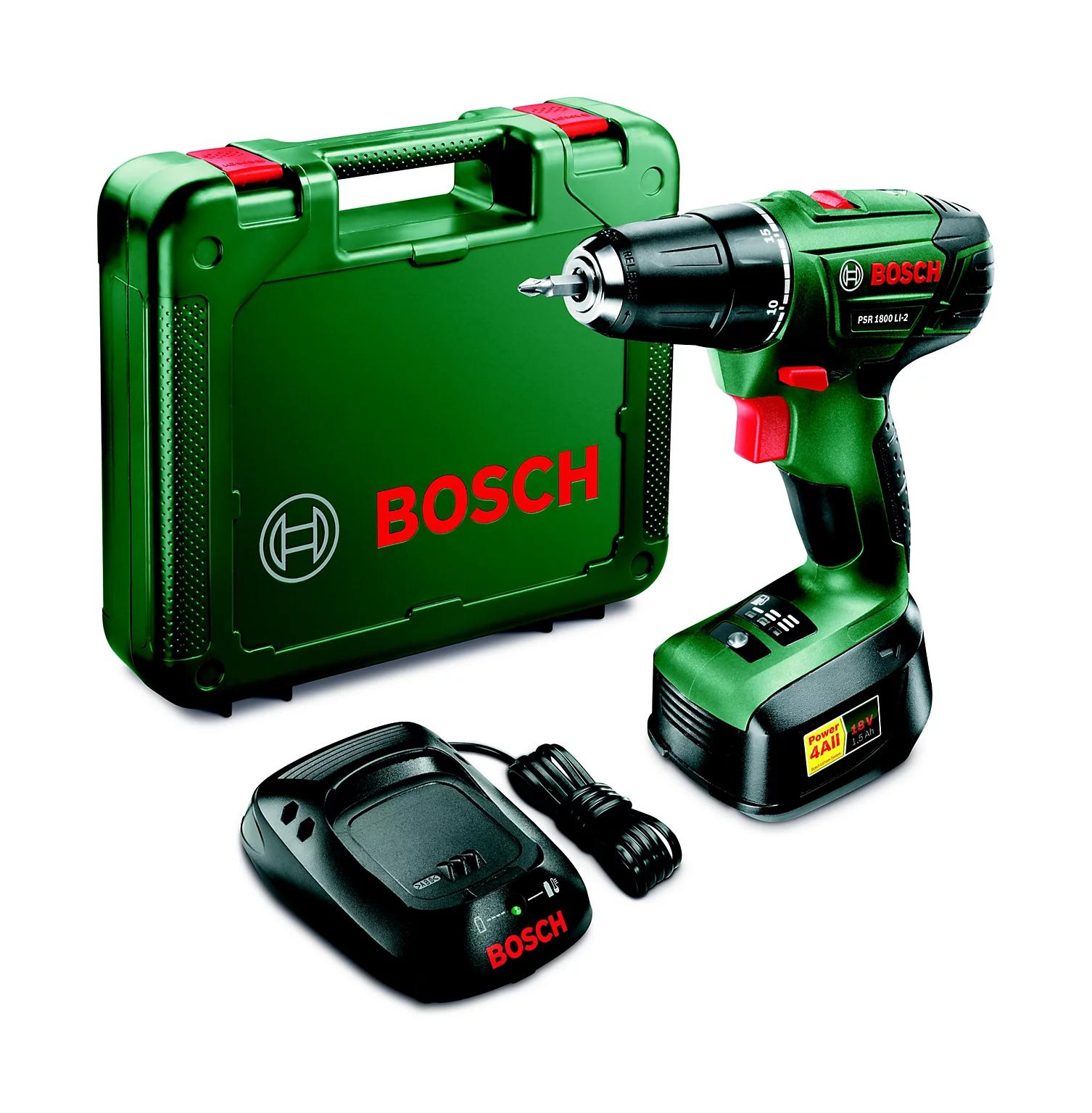 Coffret perceuse-visseuse sans-fil Bosch PSR 1800 LI-2 (18 V) - avec batterie 1.5 Ah + chargeur (via ODR 15€)