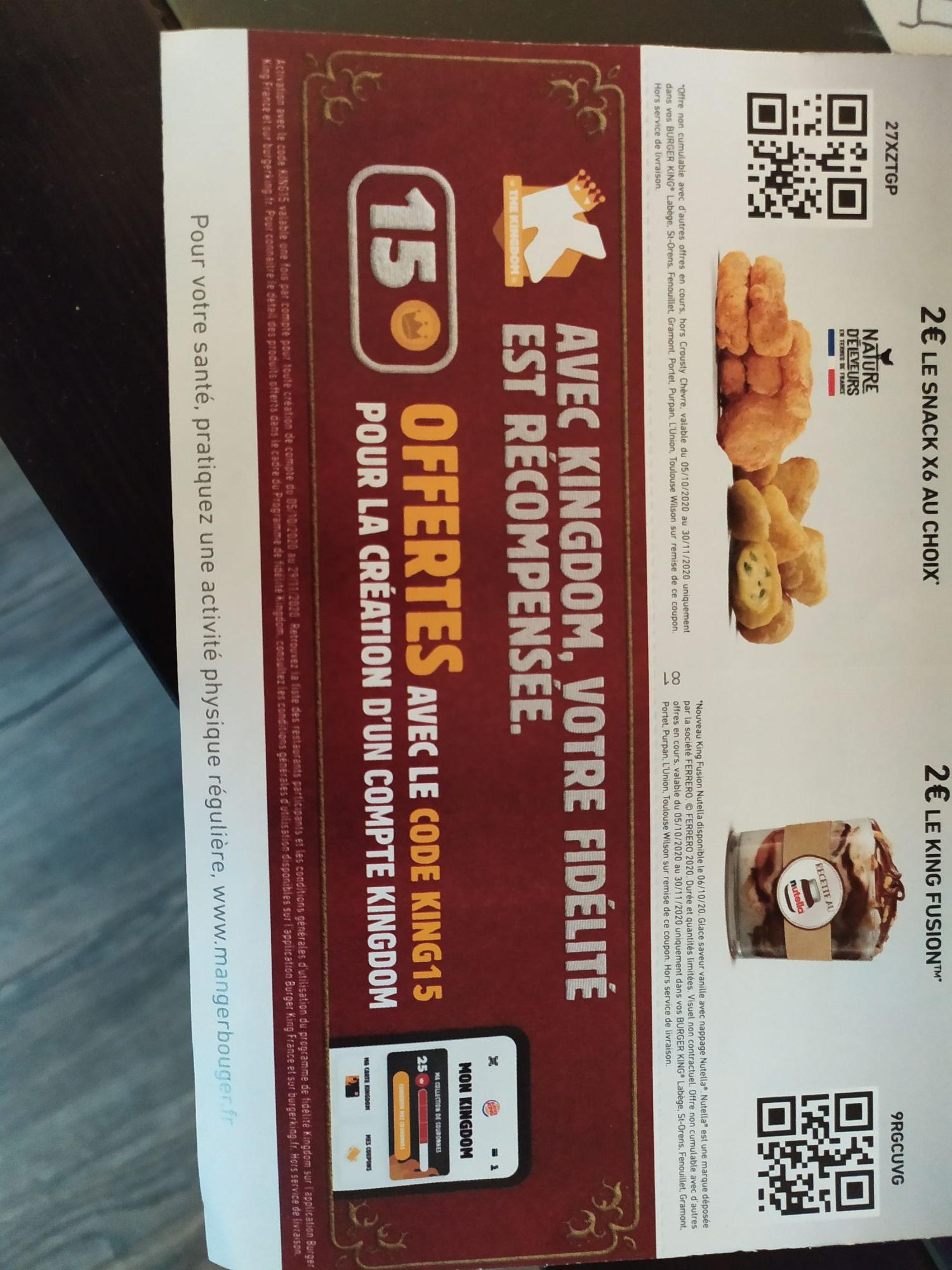 15 couronnes offertes sur l'appli Burger King pour la création d'un compte Kingdom