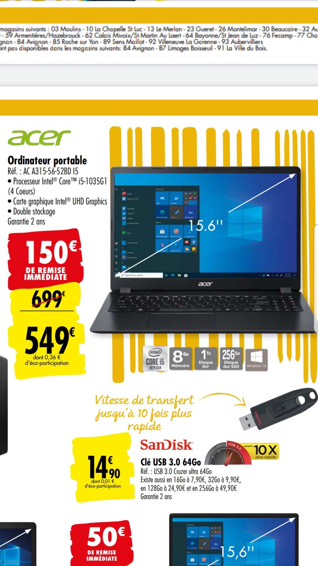 """PC Portable 15.6"""" Acer A315-56-52BD - i5-1035G1, 8 Go de Ram, 1 To + 256 Go SSD"""
