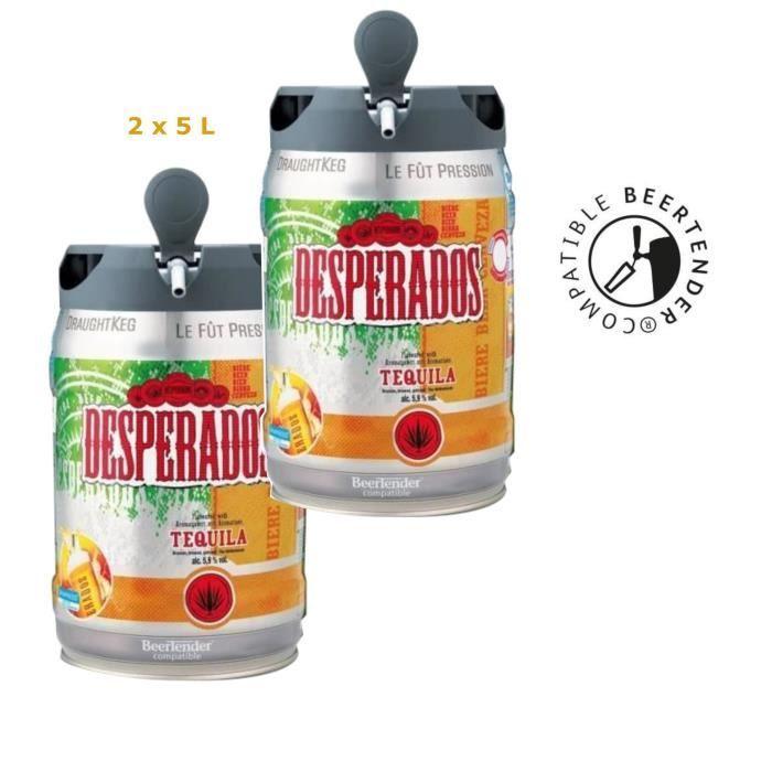 Lot de 2 Fûts de Bière blonde Desperados Tequila compatible Beertender - 2x 5L