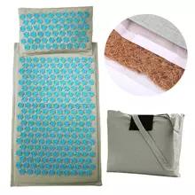 Tapis d'acupression en fibre de coco Sikiwind - avec coussin & sac de transport, bleu