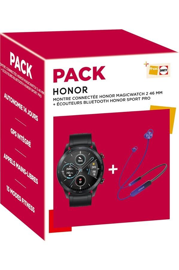 Pack Montre connectée Honor MagicWatch 2 - 46 mm (Noir) + Ecouteurs Bluetooth Sport Pro AM66 (Bleu)