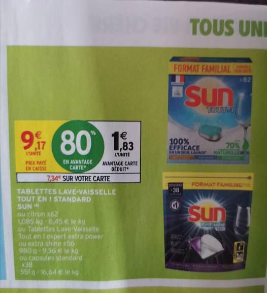 Boîte de tablettes lave-vaisselle Sun tout en 1 - Plusieurs variétés (via 7,34€ sur la carte fidélité)