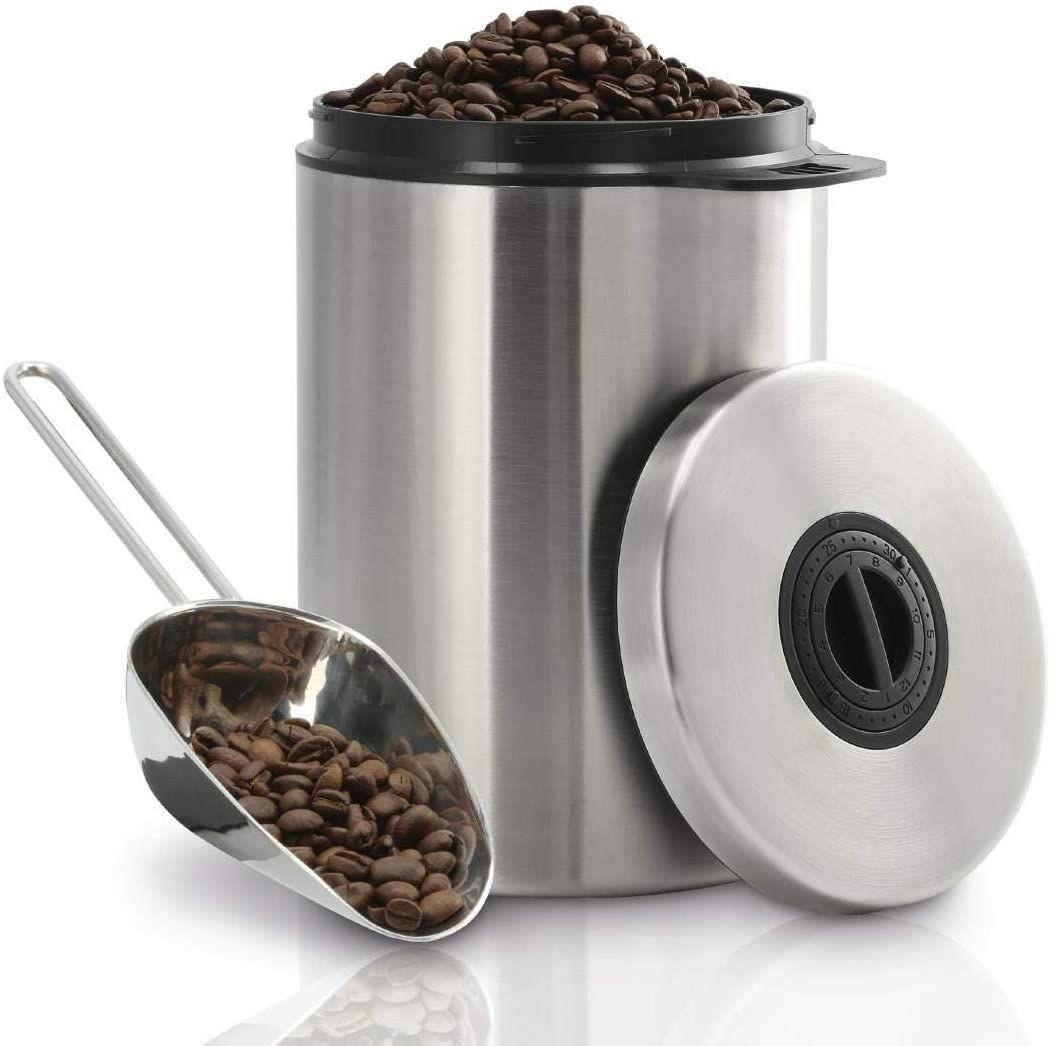 Boîte à café en acier inoxydable Xavax - Argent/Noir