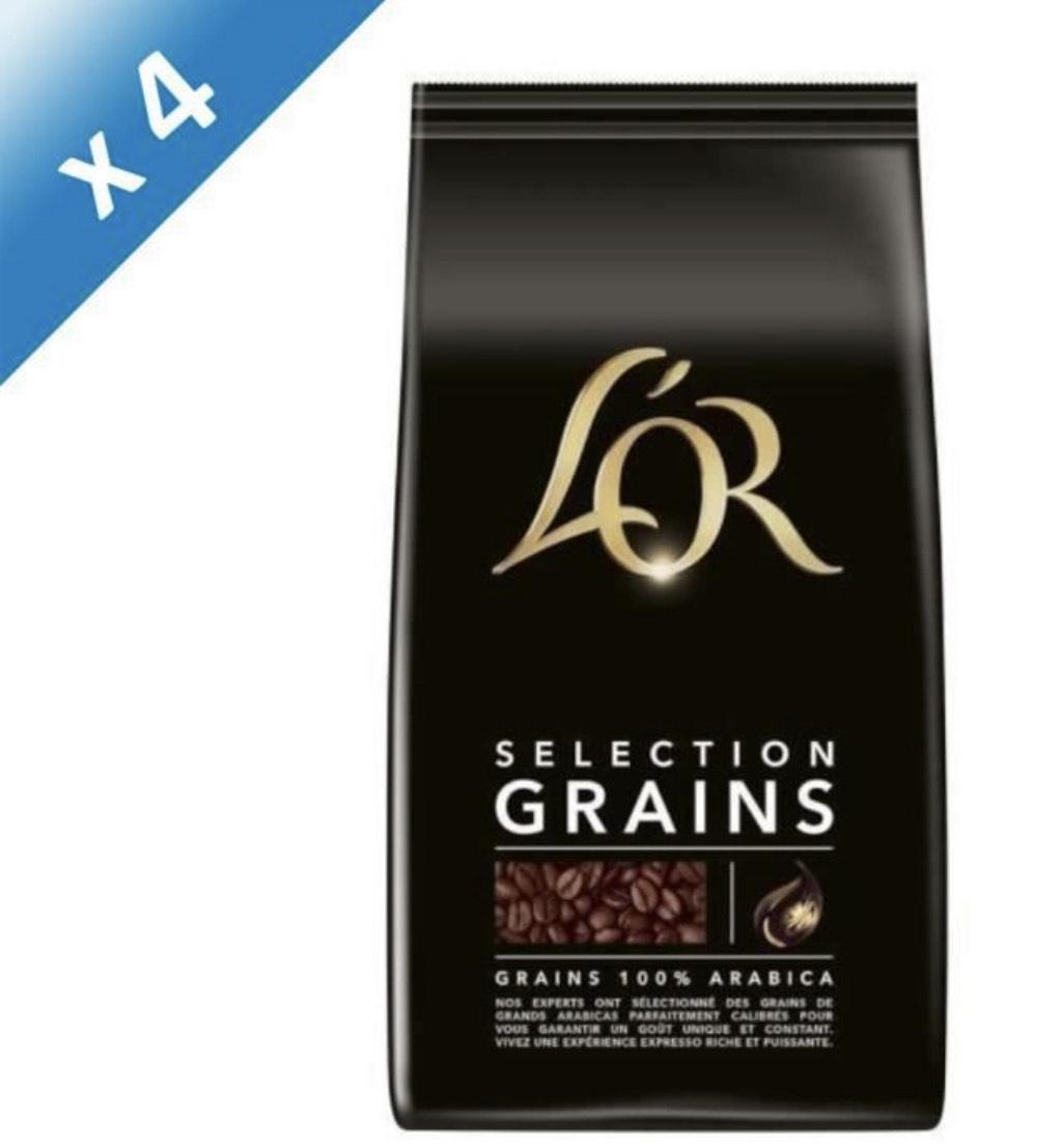 Lot de 4 Paquets de café L'Or Selection - en grains, 4x1 kg