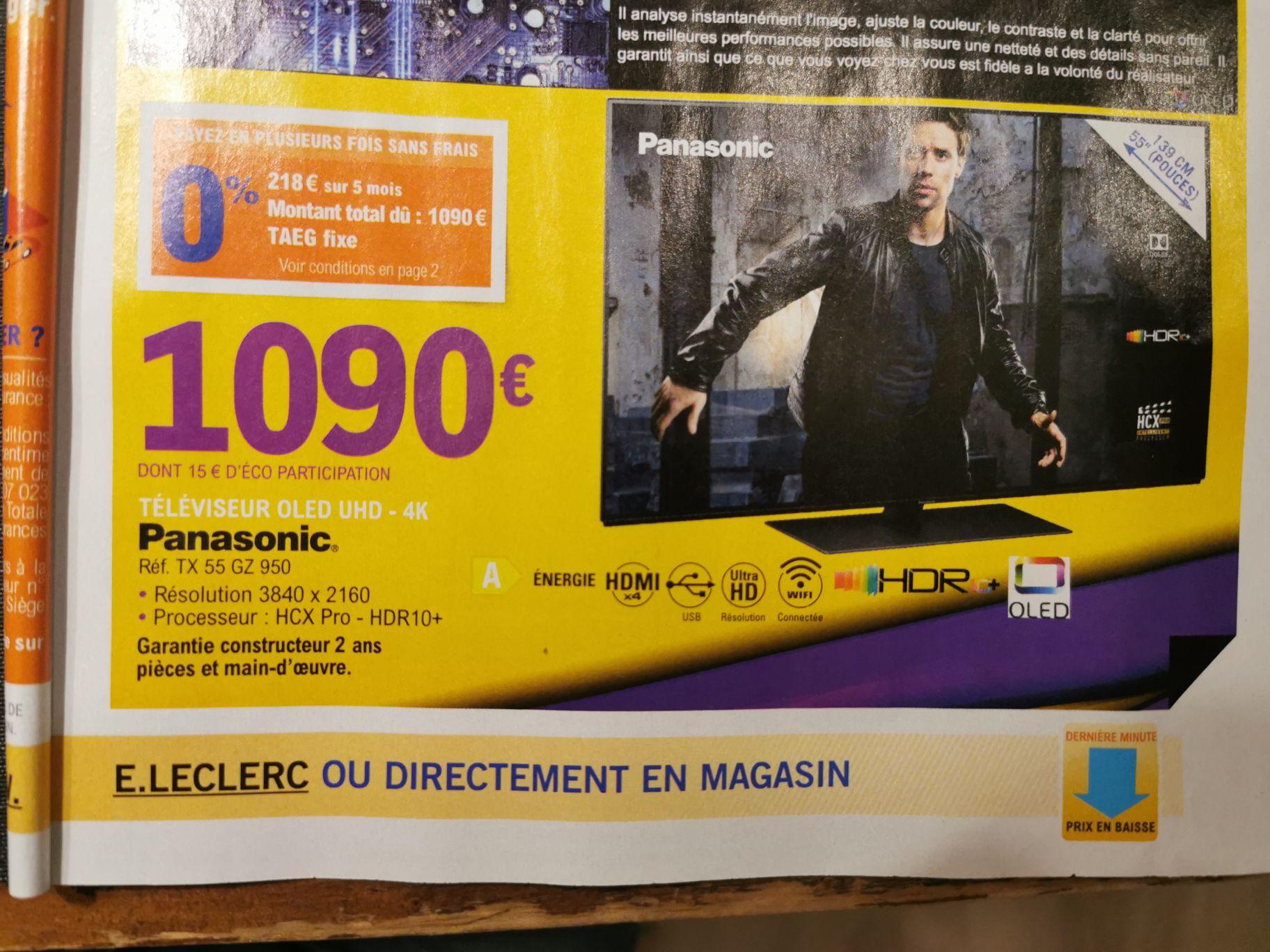 "TV OLED 55"" Panasonic TX-55GZ950E - 4K UHD, HDR 10+, Dolby Vision, Smart TV - Sélection de magasins"