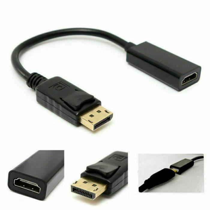 Câble Adaptateur DisplayPort (Mâle) vers HDMI (Femelle) - 20cm (vendeur tiers)