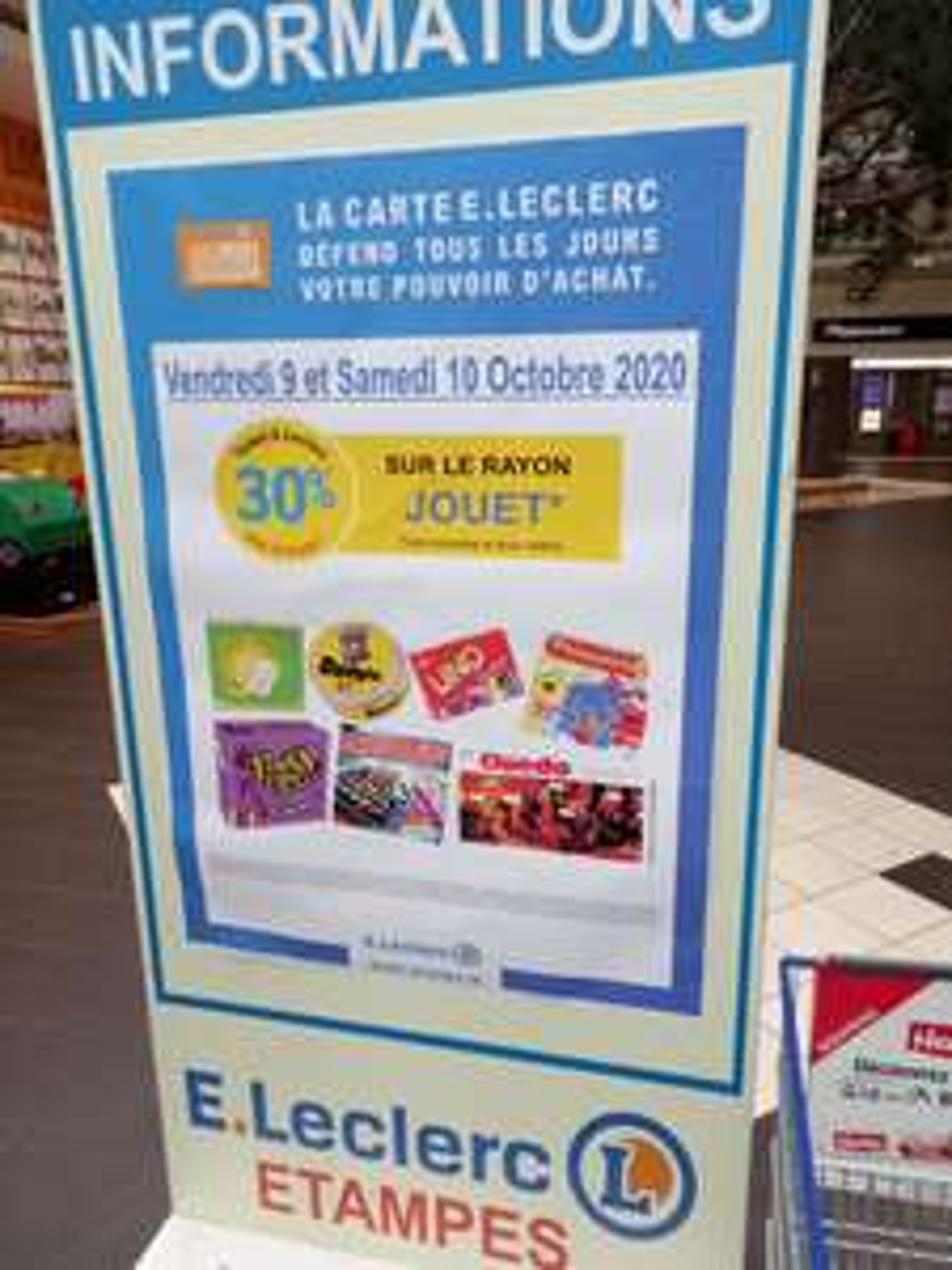 30% crédité sur la carte sur tout le rayon jouet - Leclerc d'Étampes (91)