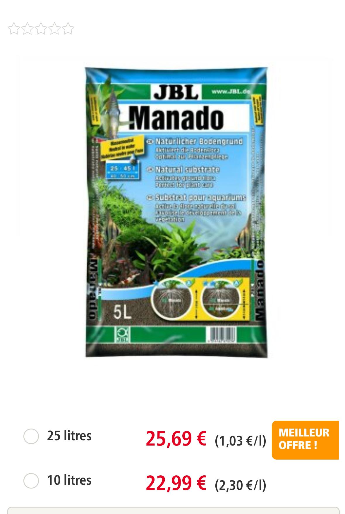 Sac de 25L de substrat pour Aquarium JBL Manado