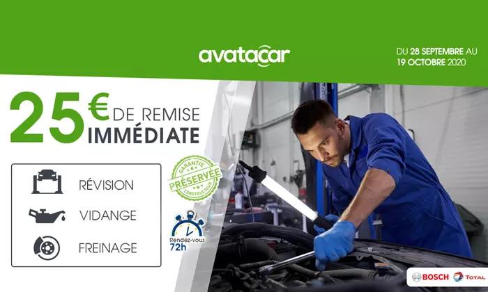Coupon de 25€ de réduction à valoir sur le freinage, une révision ou une vidange auto chez Avatacar