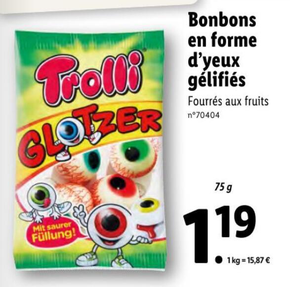 Paquet de bonbons Trolli Glotzer Yeux gélifiés - 75g