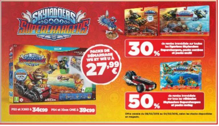 30% de réduction sur toutes les Figurines Skylanders et 50% de réduction sur les véhicules et Racing Packs