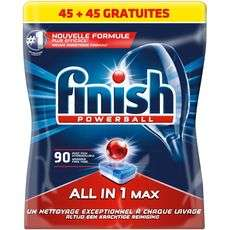 Paquet de 90 tablettes lave-vaisselle hydrosoluble tout-en-1 Finish Powerball