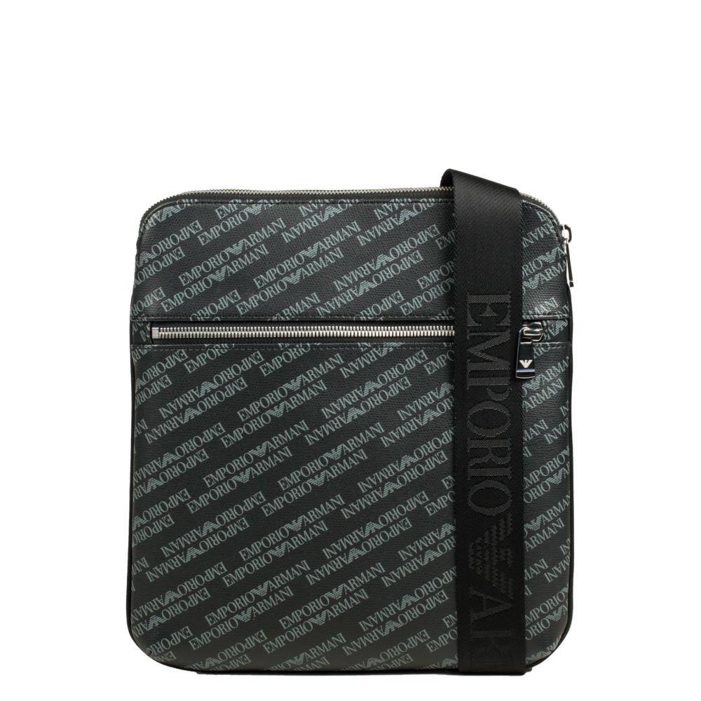 Grande sacoche plate porté travers logotée Lettering Emporio Armani (bemon.fr)