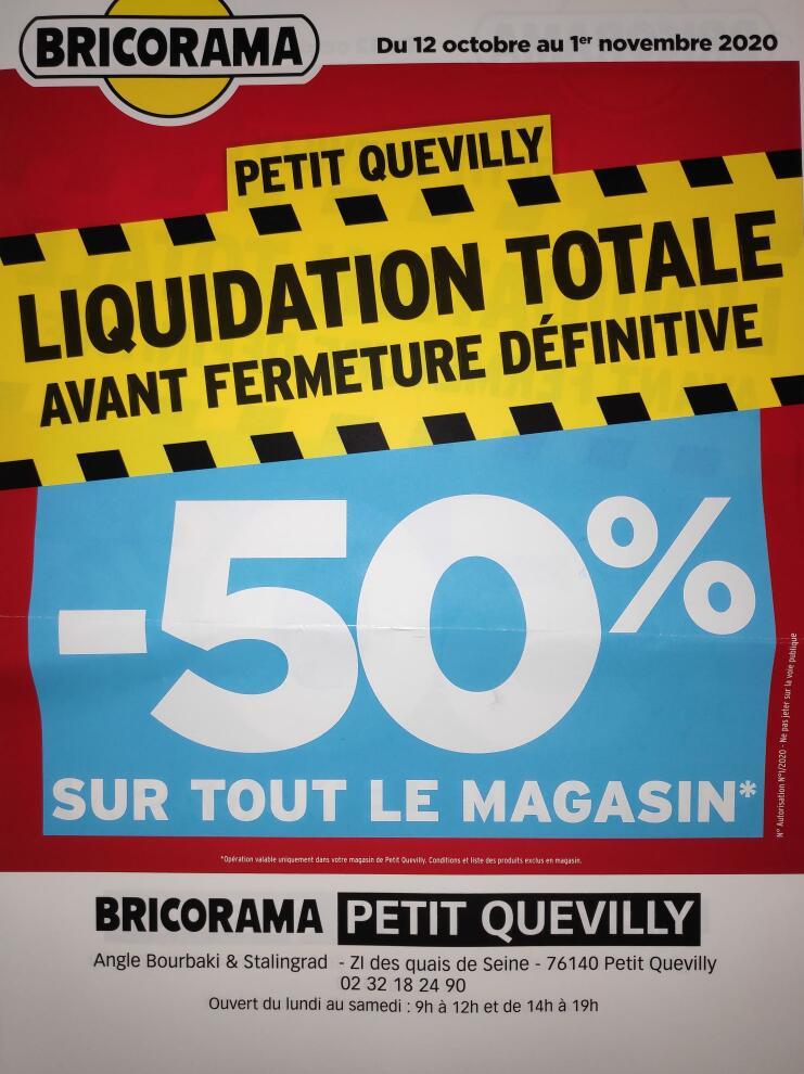 50% de réduction sur tout le magasin (liquidation avant fermeture) - Juvignac / Le Petit-Quevilly / Orléans / Villejust (34/45/76/91)