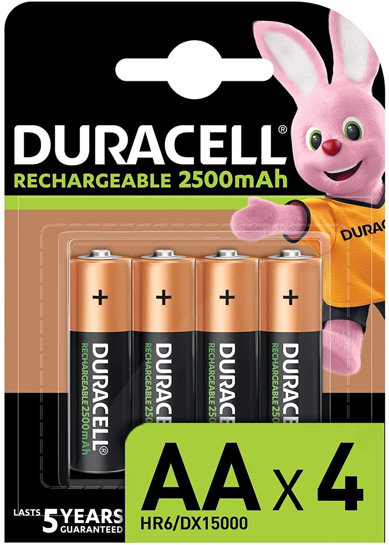 [Prime] Lot de 4 piles rechargeables Duracell - AA, 2500 mAh