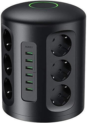 [Prime] Tour Multiprise Parasurtenseur Parafoudre Aukey - 6 Ports USB et 12 Prises Secteur avec Cordon de 2m (Vendeur Tiers)