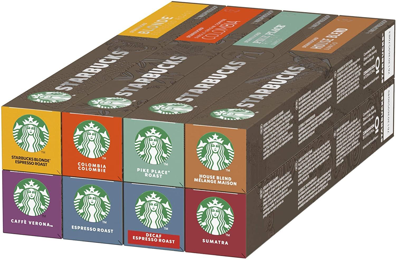 [Prime] Pack Variété capsules Starbucks By Nespresso - 8 goûts différents, 8 x 10 capsules (80 capsules)