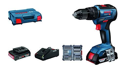 [Prime] Perceuse-visseuse à percussion Bosch Professional GSB 18V-55 18V + 2 Batteries 2.0 Ah + Chargeur + Set 35 Pièces + L-Case