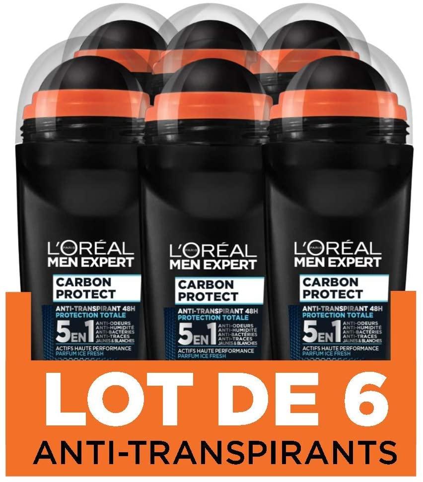 [Prime] Lot de 6 Déodorants Bille Homme L'Oréal Men Expert Carbon Protect Ice Fresh - 6 x 50 ml