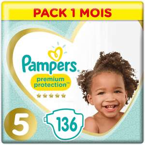 [Prime] Paquet de 136 couches Pampers Premium Protection Pack 1 Mois - taille 5
