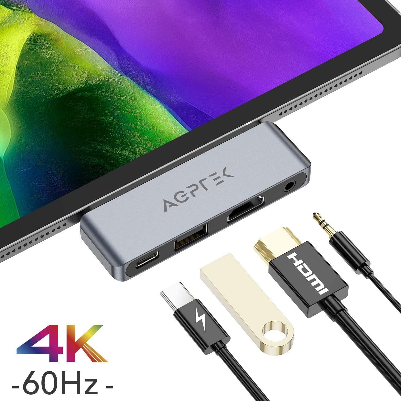 [Prime] Mini Hub USB-C AGPTEK - HDMI 4k60hz, Port USB 2.0, Port Jack 3.5mm, Port USB-C (vendeur tiers)