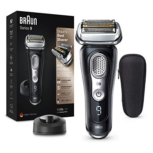 [PrimeIT] Rasoir électrique Braun Series 9 9340s Barbe - Base de Recharge, Étui Tissu, Noir Premium