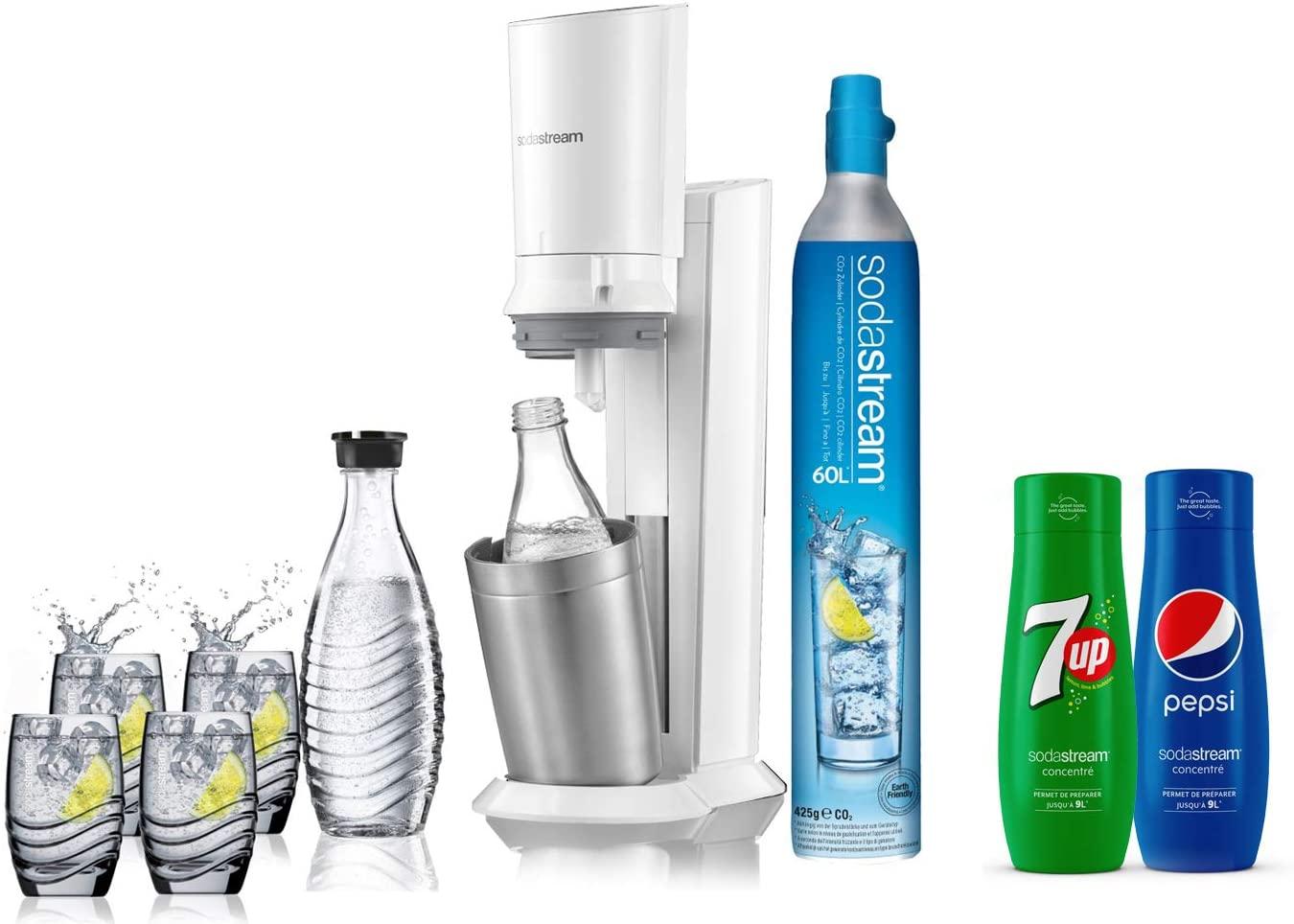 [Prime] Pack Machine à gazifier SodaStream - 2 carafes en verre (0.6L), 4 verres, 1 concentré Pepsi et 1 concentré 7Up