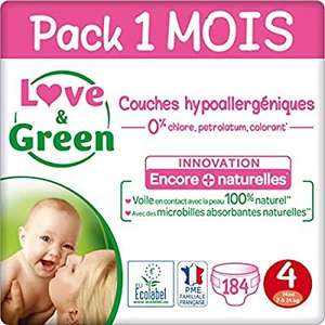 [Prime] Paquet de 184 couches Love & Green Pack 1 Mois - Taille 4