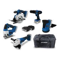 Pack de 5 outils Hyundai 18V - Meuleuse + perceuse-visseuse + ponceuse + scie circulaire + scie sauteuse + 2 batteries