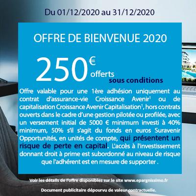 [Nouveaux clients Epargnissimo/Suravenir] 250€ offerts pour l'adhésion de l'Assurance Vie Croissance Avenir (Versement mini de 5 000 €)