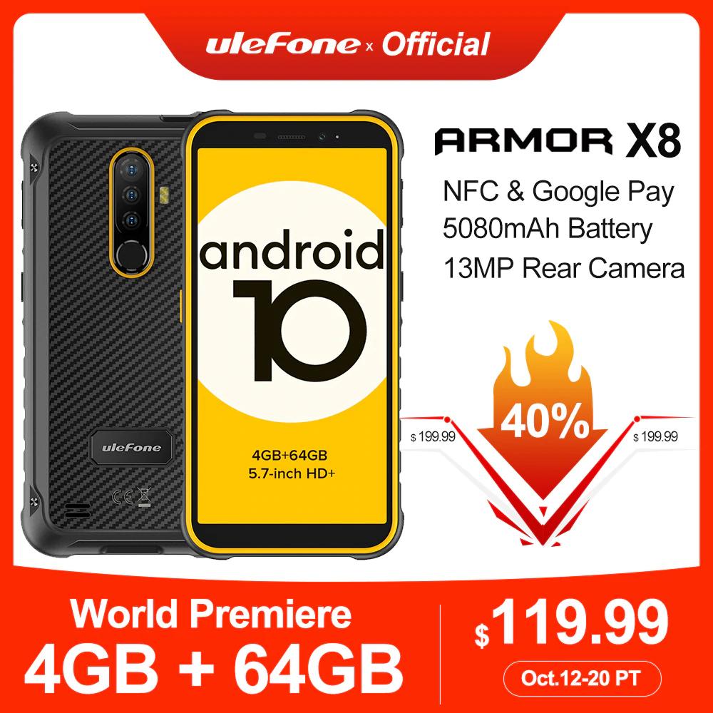 """Smartphone 5.7"""" Ulefone Armor X8 - HD+, Helio P22 (MT6762V/WD), 4 Go de RAM, 64 Go, noir ou noir/orange"""