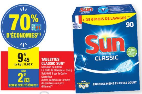 Boite de 90 Tablettes de Lave-vaisselle Sun Classic (Via 6.62€ sur la carte de fidélité)