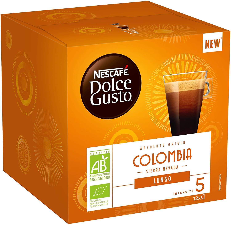 [Prime] 72 Capsules de Café Nescafé Dolce Gusto Lungo Colombia Bio -6 x 12).