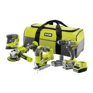 Kit 4 outils Ryobi One+ R18CK4B-252S: Perceuse + meuleuse + ponceuse triangulaire + scie sauteuse + chargeur + batterie 2Ah + batterie 5Ah