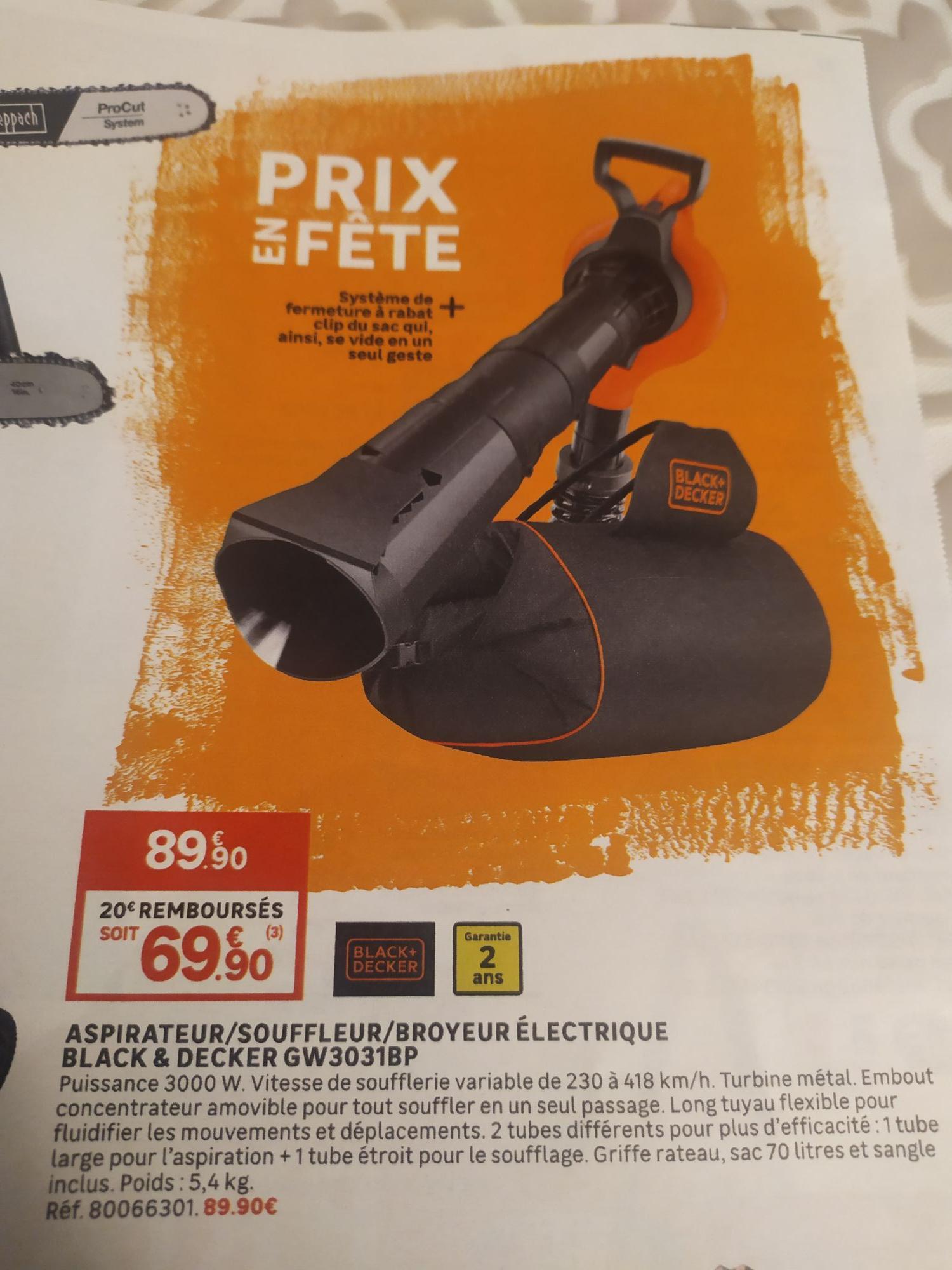 Aspirateur Souffleur Broyeur électrique Black & Decker GW3031BP-QS - 300 W (via ODR 20€)