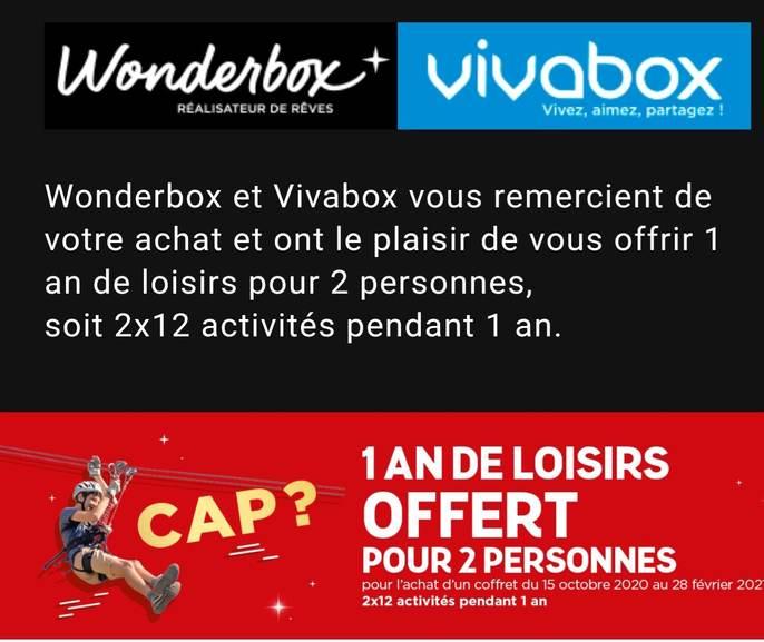 12 activités pour 2 personnes offertes pour tout achat d'une box Vivabox ou Wonderbox - 24Activites.fr