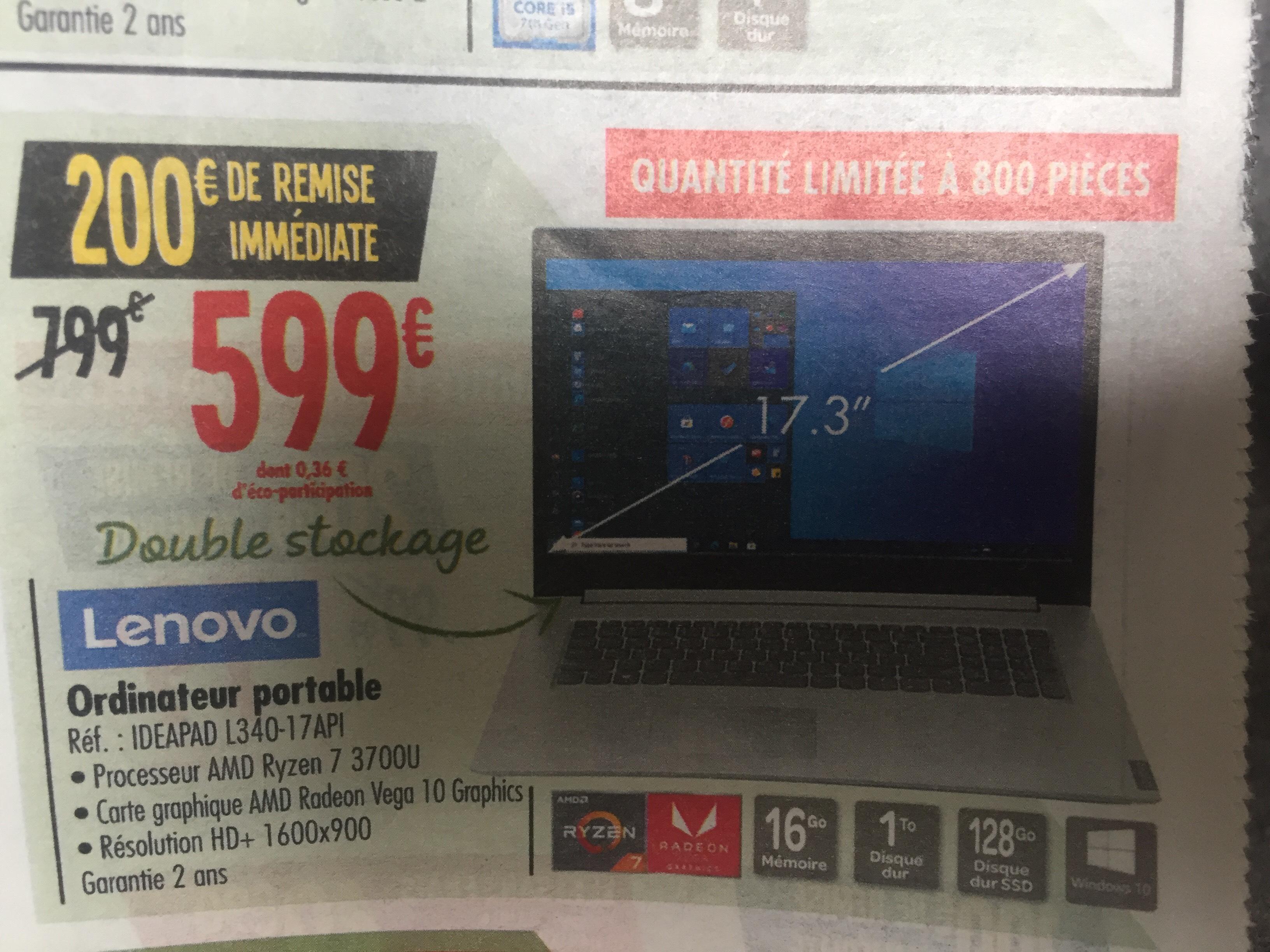 "Sélection de PC en promotion - Ex: PC Portable 17.3"" Lenovo IdeaPad L340-17API - Ryzen 7 3700U, RX Vega 10, 16 Go RAM, 1 To HDD + 128 Go SSD"