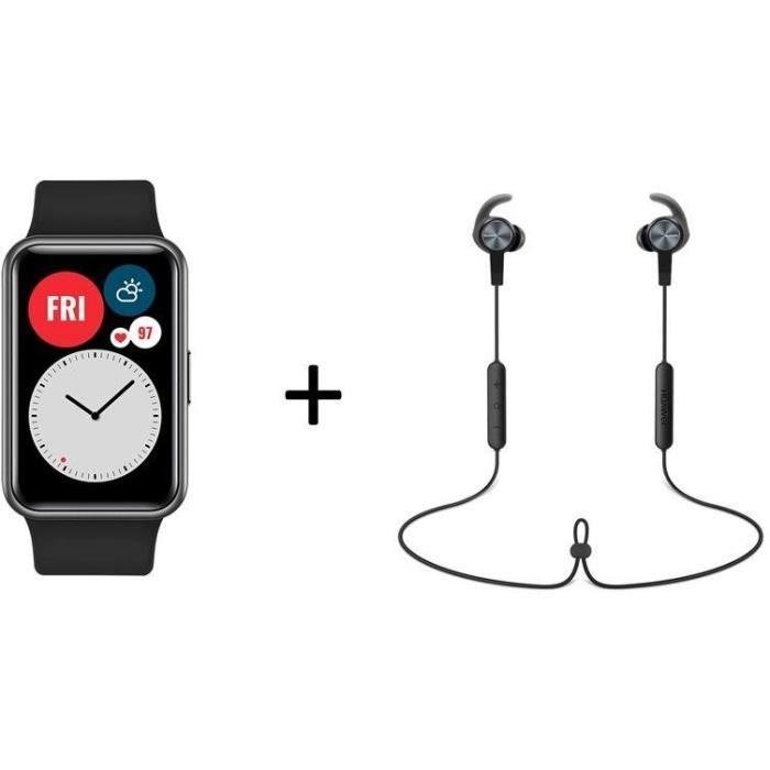 Pack montre connectée Huawei Watch Fit (noir) + écouteurs intra-auriculaires sans-fil Huawei AM61 AM61