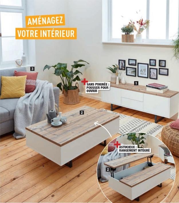 Table basse avec rangement Home Creation - imitation épicéa, 110x37.5x65.5 cm