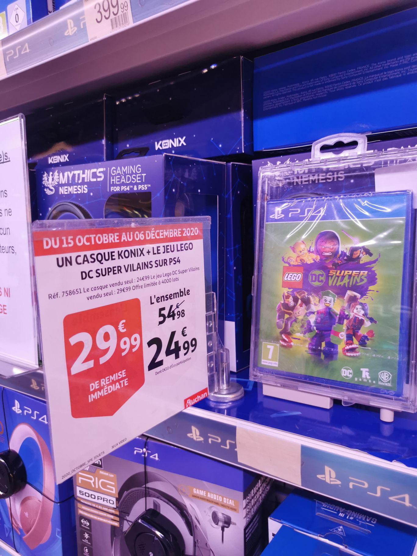Casque Konix Mythics Nemesis + Jeu Lego DC Super Vilains (PS4) - Auchan Mistral 7 Avignon (84)