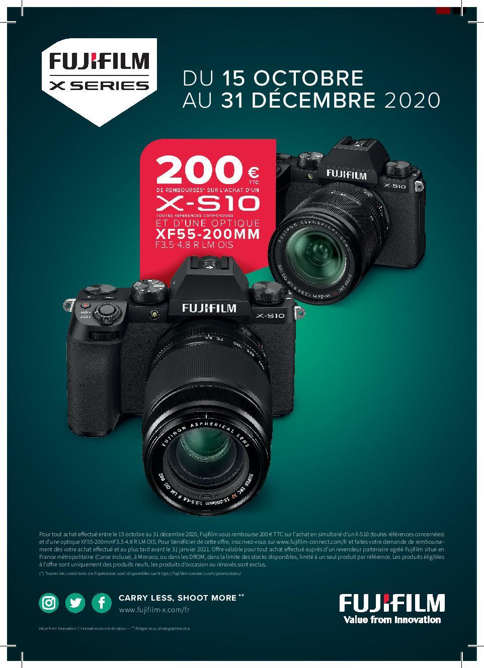 200€ de remboursé via ODR pour l'achat simultané du Fujifilm X-S10 (toutes références) + Objectif zoom XF 55-200mm f3,5-4,8 - Ex X-S10 Nu