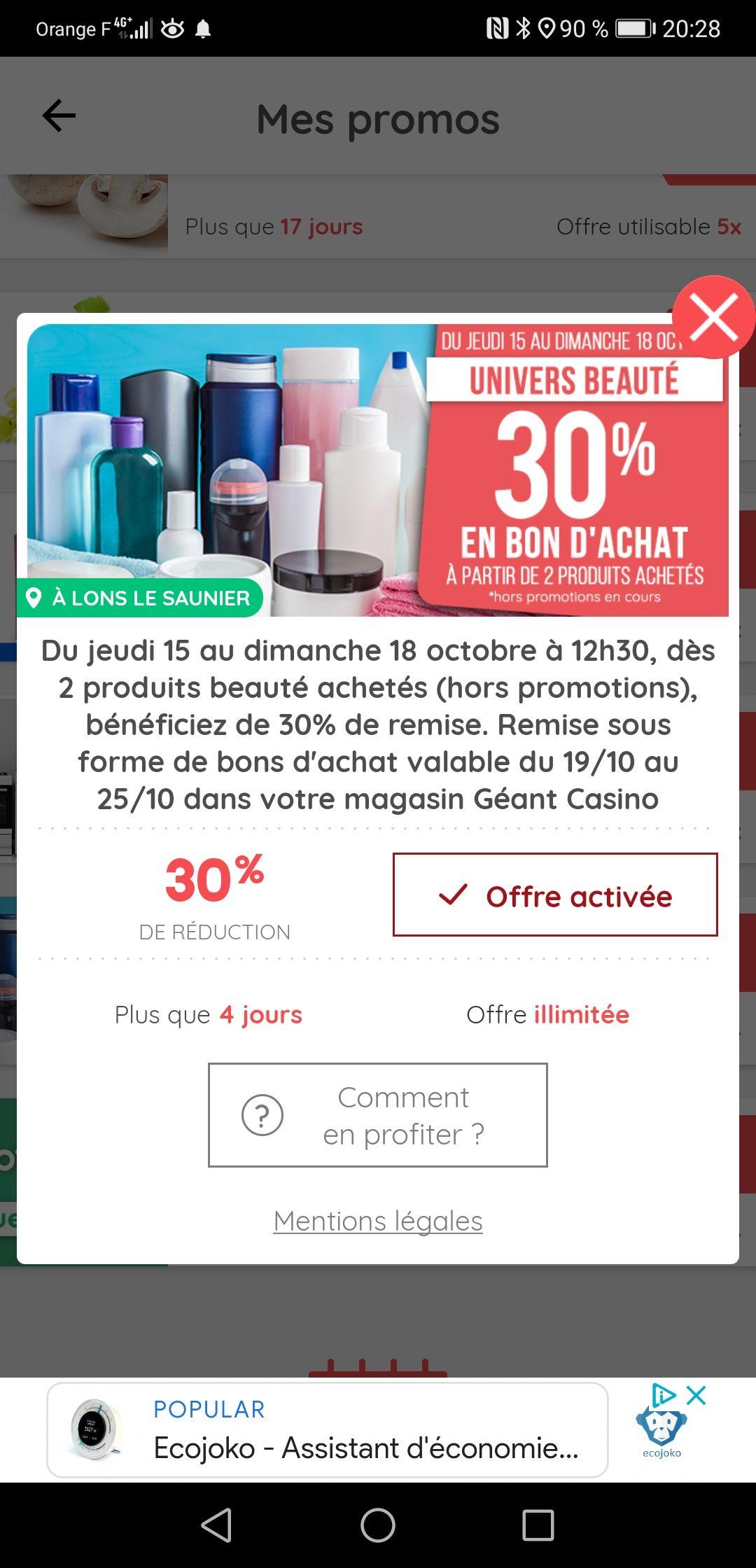 [Casinomax] 30 % remboursé en bon d'achat dès 2 produits de beauté achetés (Hors promotion)