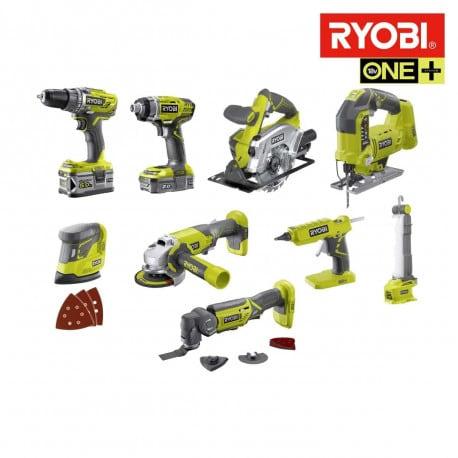 Pack Ryobi Combo R18CK9-252S - 9 outils, 2 batteries 5.0Ah et 2.0Ah, 1 chargeur (espace-bricolage.fr)